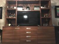 Large bespoke Walnut veneer cabinet excellent condition