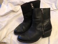 H by Hudson Womens/Ladies Black Riley Leather Ankle Boot Size UK 6 (EU 39)