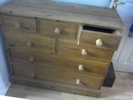 Large Pine Dresser. Good Condition. 7 Drawers. Buyer collects - reasonable offers for quick sale