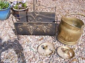 Brass log holder, coal scuttle and a pair of candle holders