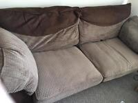 Beige and brown cloth (cord) sofa