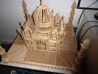 2FT SQUARE MATCHSTICK MODEL OF TAJ MAHAL ALMOST COMPLETE -BARGAIN