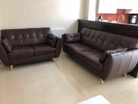 Genuine Leather Sofas (Dark Brown). 3 seater and a 2 seater. Original price £2200