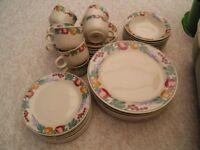 set of dinner crockery