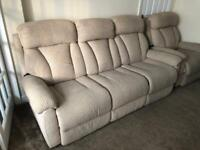 La-Z-Boy 3 Seater reclining sofa with 2 seater & electric reclining chair, used for sale  Westhoughton, Manchester