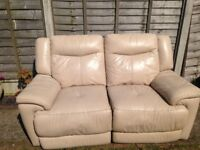 Cream Leather 2 Seater Electric Reclining Sofa