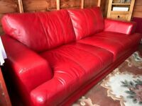 Red Leather 3 Seat Sofa and single Chair