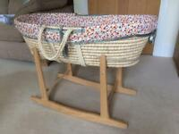 Rocking Moses Basket - stand, basket and mattress
