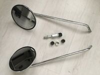 Pair of Genuine Piaggio Mirrors to Fit Vespa PX 125-150-200 E 1998 on - With a bracket and 3 bolts