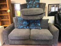 Grey sofa and cuddle Swivel chair