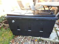 Robust black plastic cold water tank