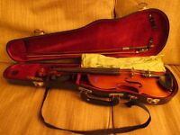 7/8th violin including bow and case