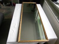 "43"" Tall Gilt Wood Wall Hanging Mirror 109cm x 39cm"