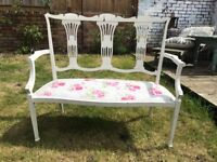 White floral boudoir sofa. Shabby chic French style bench