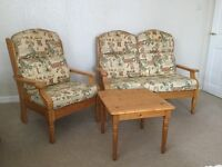 2 seater sofa,armchair and small table