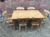 Solid pine farmhouse table with drawer. 6 chairs