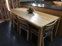 Solid Oak kitchen table, bench and four chairs