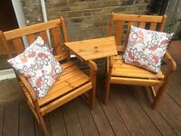 Garden Chairs Love Seats + Table + Cover