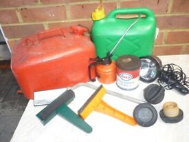 car items,spanner,2 petrol cans,3 petrol caps,greese tin,oil can,screen cleaners,light.£15..