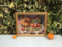 Vintage French Framed Needlepoint Brodery Tapestry of the FRUITS OF AUTUMN - FRUITS D'AUTOMNE