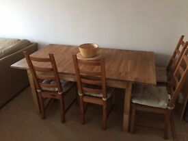 6 seat (extend 8) Dining Table & 4 chairs