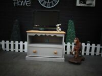 SOLID PINE FARMHOUSE TV CABINET PAINTED WITH LAURA ASHLEY GREY COLOUR