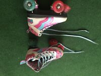 Rio Roller skates child's size 1/ EU 33. White with pink and blue design. So cute!