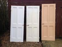 old pine painted 4 panel internal doors in good condition x 3