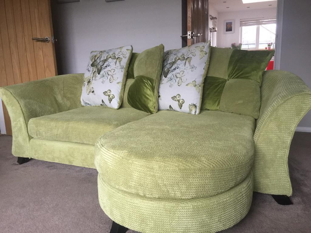 Dfs green corner sofa sofabed cuddle chair footstall