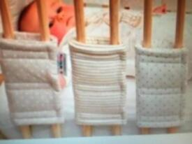 12 beige & white Hippychick individual Cot Bar Bumpers, stripes/spots - for sale, £20