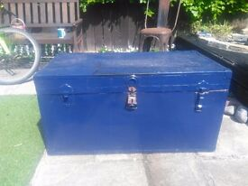 Large blue metal chest