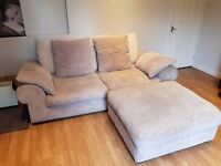 Supremely comfy 3 seat sofa and large footstool. 5 years old in great condition. Nice and clean
