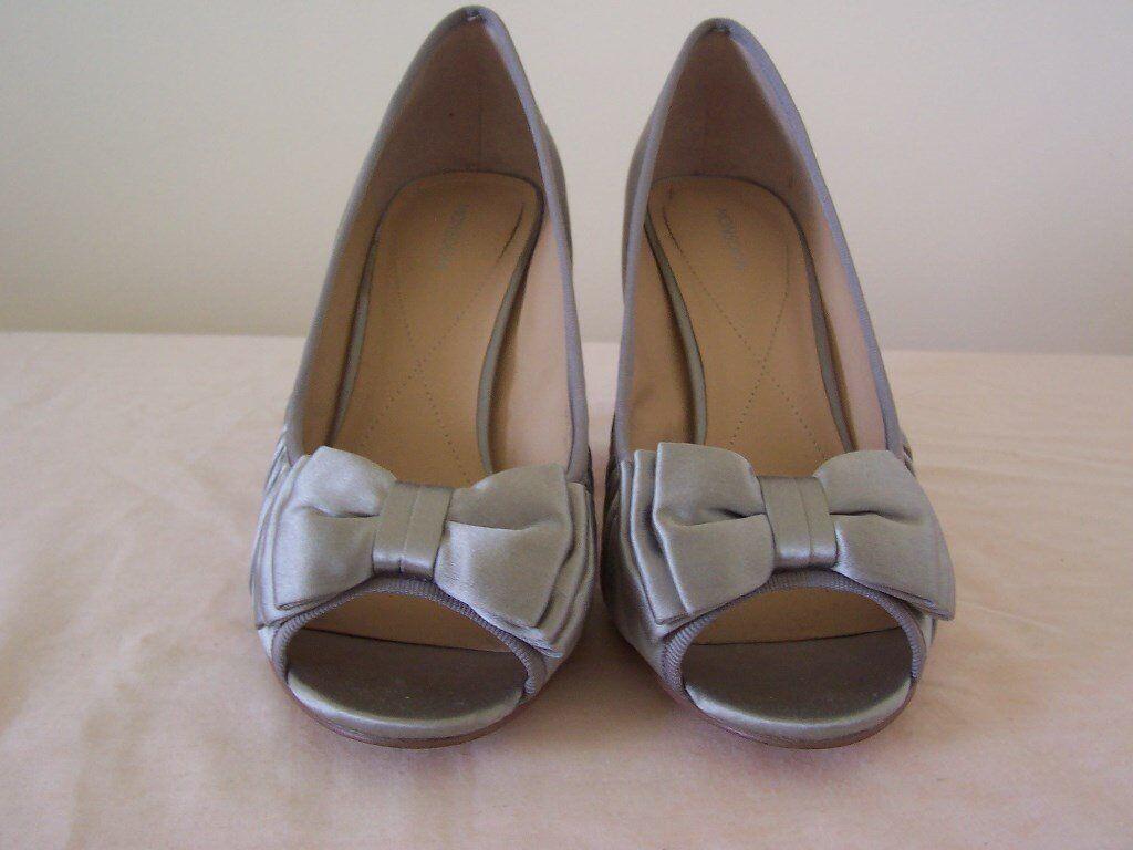 Monsoon silver satin peep toe shoes