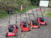 4 Non Running Lawn Mowers Spares or Repair
