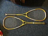 2 squash rackets