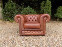 Thomas Lloyd Tan Leather Chesterfield Club Tub Armchair *2 Available*