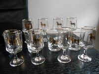 Set of 12 Vintage Greek gold rim drinking glasses with horse on glass
