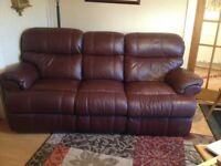 2 three-seater real leather sofas