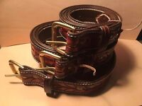 Hand Carved Leather Belt with brass buckle