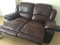 Harvey's brown leather 3&2 seater sofa