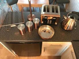 Copper kettle, toaster inc accessories