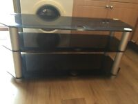 Black glass large tv unit