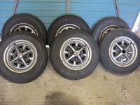 6 MGB (MG) GT Rostyle Wheels and tyres, unrestored