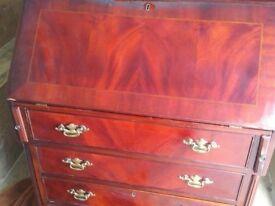 Beautiful mahogany writing desk/bureau with key