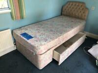 SINGLE DIVAN BED WITH MATTRESS AND HEADBOARD AND LARGE DRAWER. CAN DELIVER.