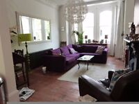 Huge Corner Sofa - Purple VGC. With spare set of brand new covers for seat and rear cushions