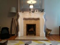 Beautiful vintage marble fireplace and plasterboard surround