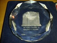 Korea chamber of commerce glass paperweight