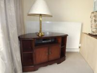Corner TV unit, regency mahogany.