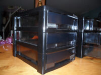 Filing Tray Towers. 2 x 3 tray black A4 in size. Stackable